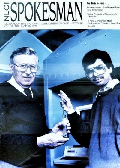 NGLI Magazine from 1994 showing Raj Shah, right, and Elmer Klaus, the late Penn State chemical engineering professor